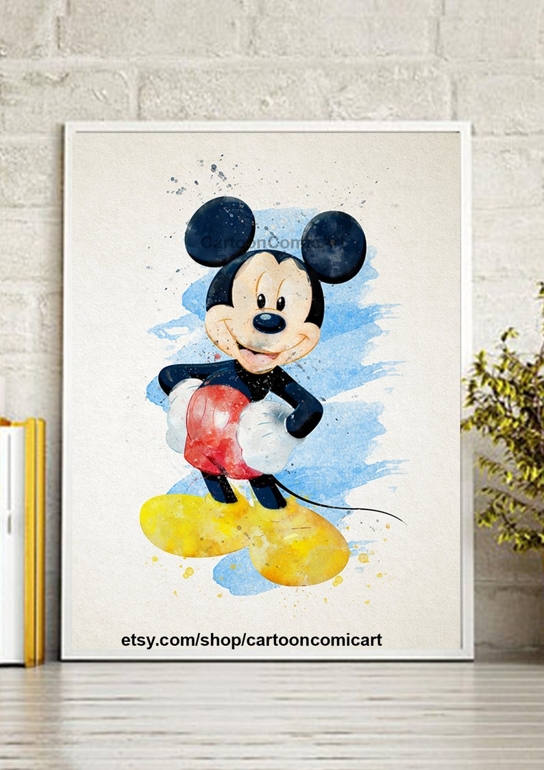 8d3c2b6abc9 Watercolor Mickey mouse Mickey Mouse wall art mickey mouse