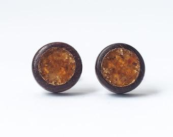 Wooden stud earrings, Wooden earrings, Amber, Natural earrings, Wooden jewelry, Natural jewelry