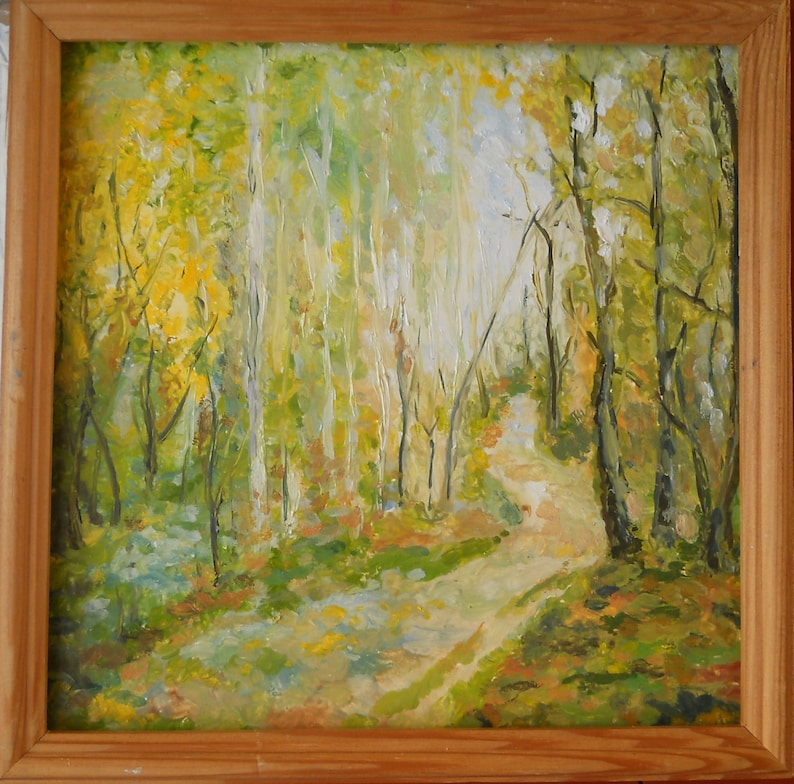 Art Imported From Abroad Countryside Landscape Large Oil Painting Canvas Forest Trees Lake Woods Woodland