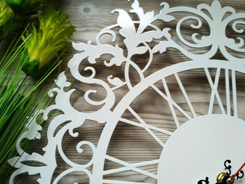 En métal horloge, visage ouvert, tapisserie, cadeau homme, cadeau femme, horloge de mur blanc, horloge murale Unique, grande horloge murale, horloge murale ronde, м2ч5