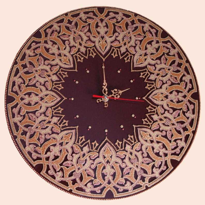 Cadeau de mur d'horloge, Peinture sur verre, Macrame, Boho, Mandala, Horloge de verre, verre peint à la main, art de verre fait main, cadeaux en verre, а1ч9