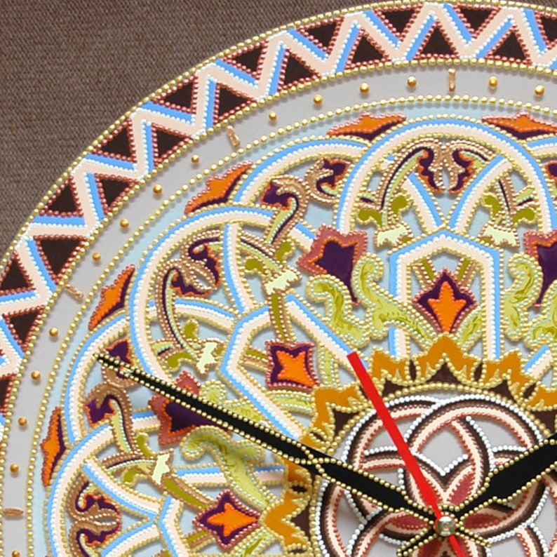 Art dhorloge de mur, tapisserie de Boho, tapisserie de Boho, tapisserie de Mandala, tapisserie de hippie, cadeau de mur dhorloge, abstrait acrylique, peint à la main, 13