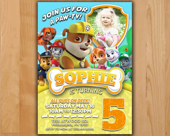 picture relating to Paw Patrol Invitations Printable titled Paw Patrol Invitation - Rubble Paw Patrol Celebration Invite - Paw Patrol Birthday Social gathering Invite - Printable invite Rubble Chase Skye with picture