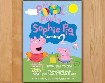 Peppa Pig Invitation - Peppa Pig Summer Party  Invitation - Peppa Pig Birthday Pool Party Invite - Boy Girl Birthday Printable invite
