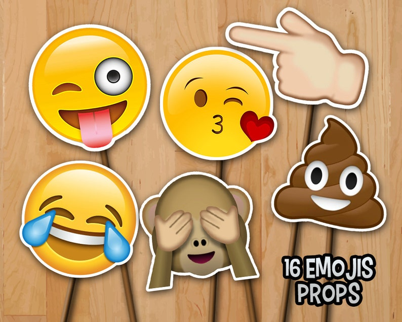 Emoji Birthday Photo Booth Props   INSTANT DOWNLOAD  16 image 0