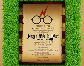 Harry Potter Invitation - Magical Birthday Invitation Party - Harry Potter Party Invite - Boy Girl Birthday Printable invite