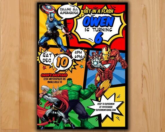Avengers Invitation Invite Birthday