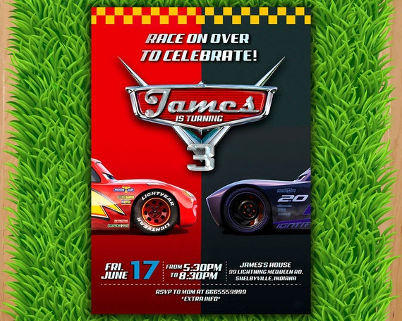Disney Cars 3 Invitation Party Invite