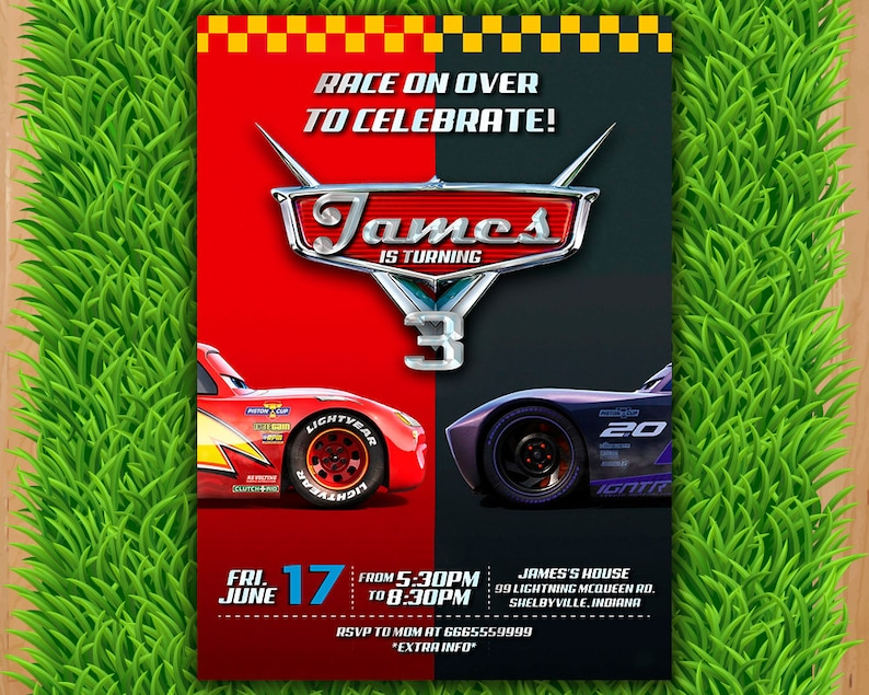 Disney Cars 3 Invitation Party Invite