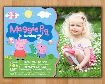Peppa Pig Invitation - Peppa Pig Birthday Invitation - Peppa Pig Party Invite - Boy Girl Birthday Printable invite with photo