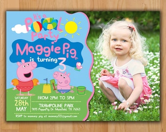 Peppa Pig Invitation - Peppa Pig Summer Party Invitation - Peppa Pig Birthday Pool Party Invite - Birthday Printable invite with photo