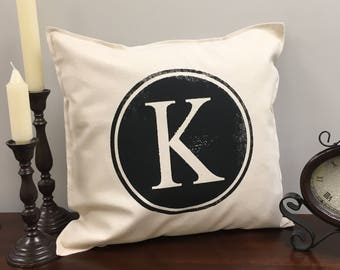 K Initial Pillow Case