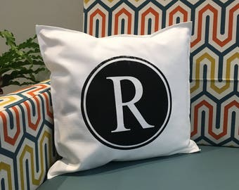 R Initial Pillow Case