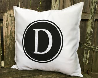 D Initial 18x18 Pillow Case