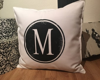M Initial 18x18 Pillow Case
