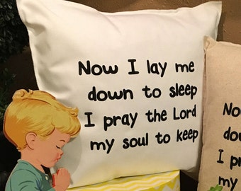 NOW I LAY ME Prayer Pillow Case