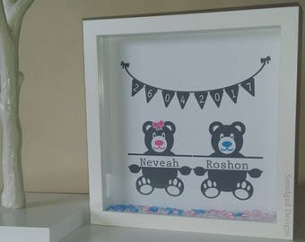 Twin Birth Detail Frame, Twins, New Baby, Baby Birth, Baby Naming, Personalised Keepsake Gift, Triplets Frame, Triplets, Multiple Births