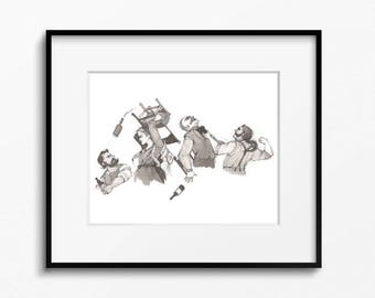 Bar Fight Jackdaws Print 8x10
