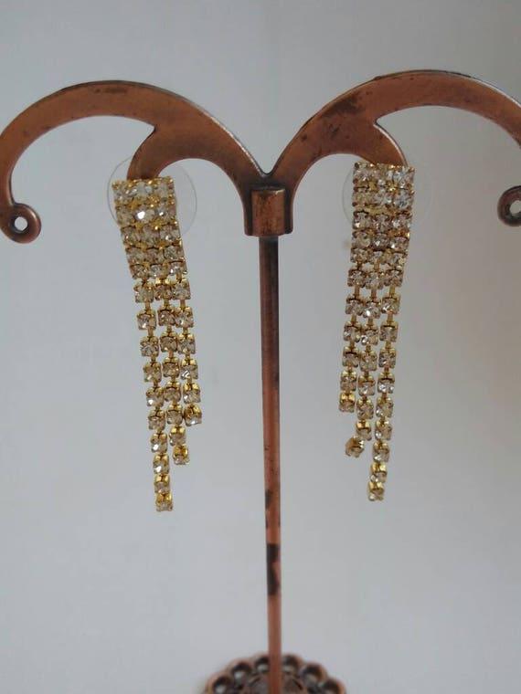 Vintage white zircon earrings. Antique earrings. A