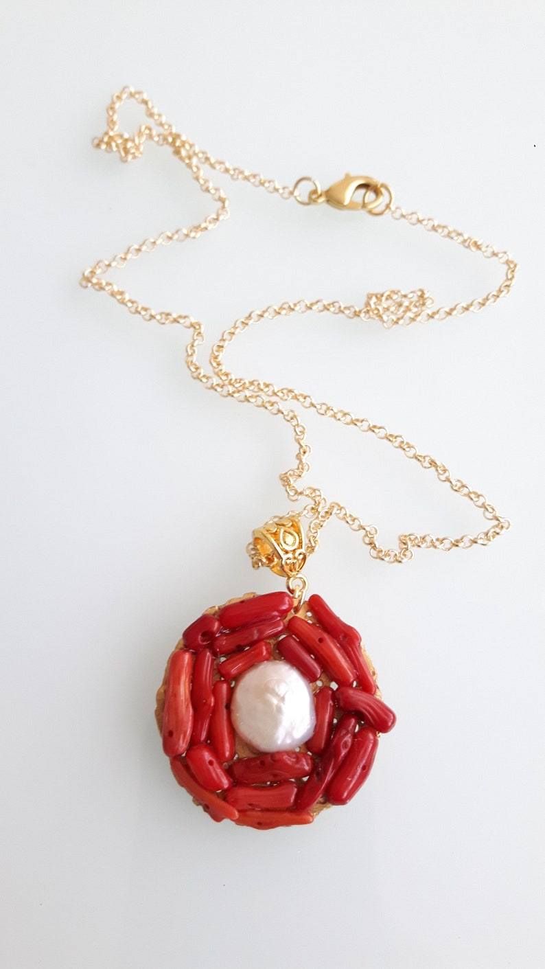 Red coral pendant and white pearl. Mediterranean red coral necklace and natural pearl