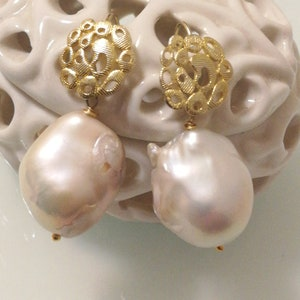 White Baroque Pearl Natural Druzy Gold Stud Drop Earrings