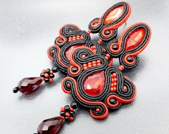 Chandelier dangle soutache big earrings gypsy statement light purple red drop long stud earrings tribal moroccan women ornate carnival gift