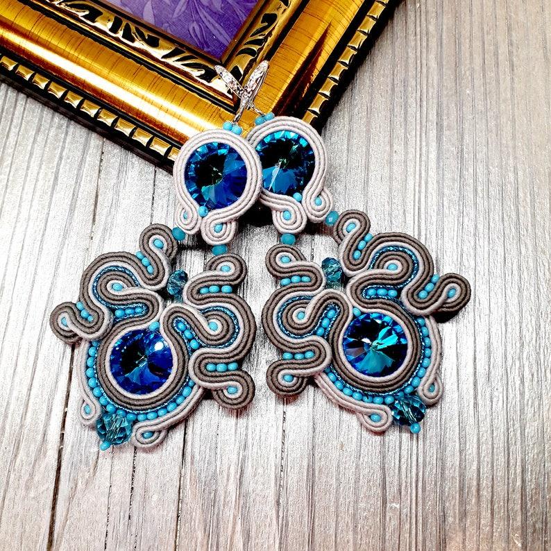 Soutache Hanging Gray Blue Earrings Large Earrings Gift fo Her Teal Statement Textile Soutache Woman earrings Dangle Long Big Earrings