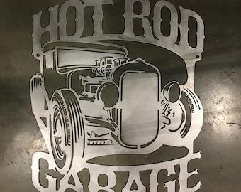 Hot Rod Garage Metal Wall Art