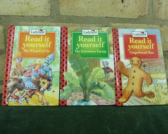 3 Vintage Ladybird book 90's read it yourself Gingerbread Man , The Enormous Turnip g