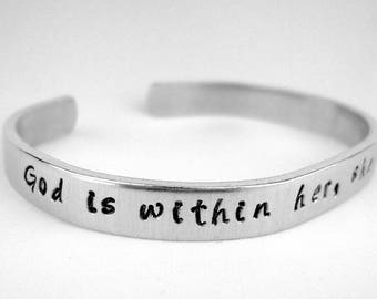 God is Within Her She Will Not Fall, Psalm 46:5 Bracelet, Hand Stamped Scripture Jewelry, Faith Gift with Bible Verse