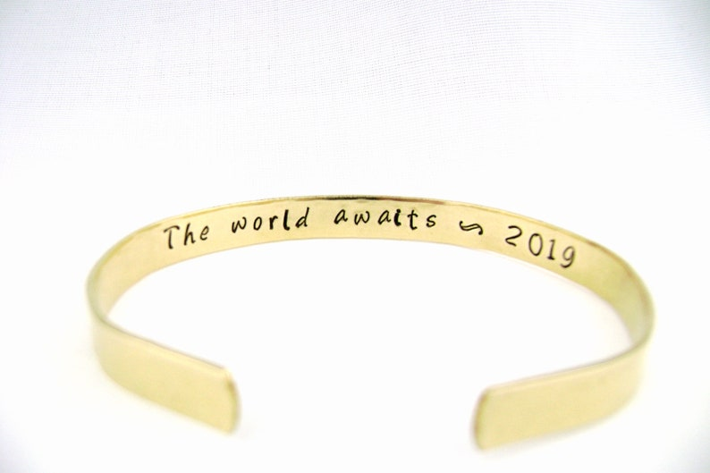 The World Awaits Personalized Bracelet Graduation Gift for image 5