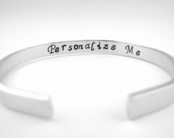 Custom Message Bracelet, Maid of Honor Jewelry, Sister Bracelet, Personalized Hand Stamped Bracelet Cuff,
