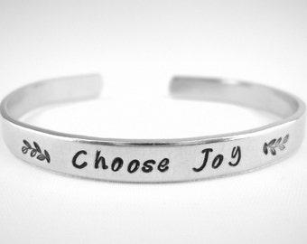 Choose Joy Bracelet, Inspirational Jewelry, Daily Reminder, Choose Joy Cuff, Hand Stamped Metal Cuff