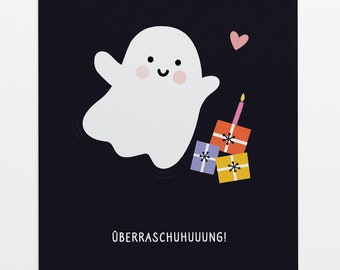 Surprise: Birthday card ghost in a6 format