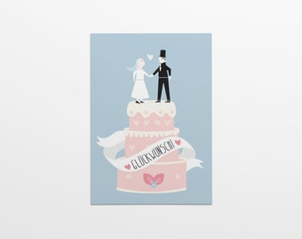 Congratulations! Wedding Cake man & woman in format A6