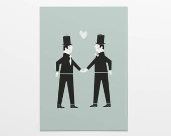 Folding card with cover: Gay wedding