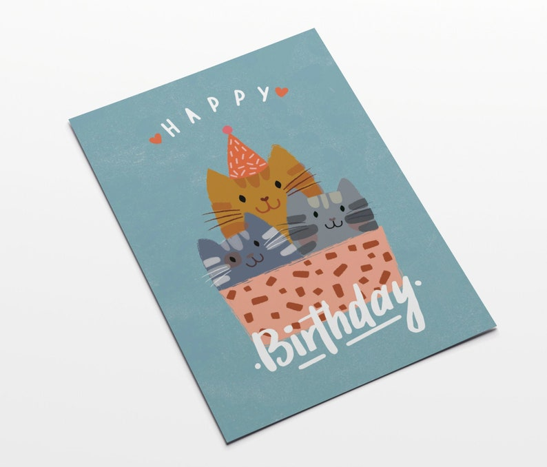 HAPPY BIRTHDAY CAT Postcard in a6 format image 0