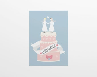 Congratulations! Wedding Cake woman & woman in A6 format