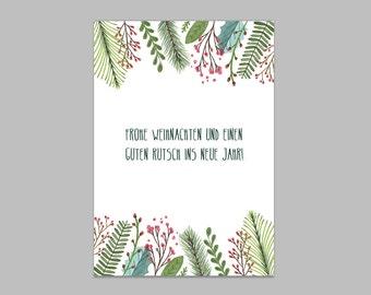 Christmas card: mistletoe branch Scandinavian design