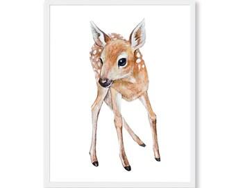 Baby Deer Fawn Watercolor Nursery Animal Print Woodland Animals Deer Nursery Decor Girl Nursery Wall Art Printable Deer Painting Download