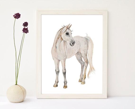 Pferd Aquarell weißen Pferd Kinderzimmer Kunst Pferd Druck | Etsy