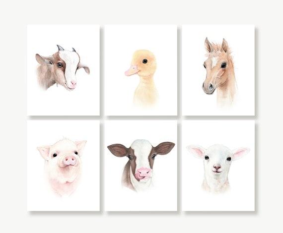 Farm Animal Nursery Print Set of 6Kids Wall Art for Girls and BoysUnframed