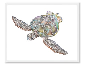 Sea Turtle Art Print, Turtle Watercolor Painting, Nursery Printable Tortoise, Sea, Ocean Animal Print, Digital Download, Beach Nursery Decor