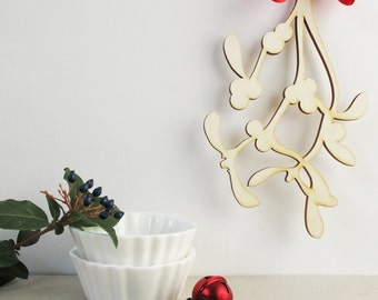 wooden christmas mistletoe handmade wood christmas ornament christmas door decoration by bica