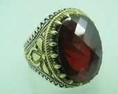 Turkish Handmade Jewelry 925 Sterling Silver Garnet Stone Men Ring Sz 10