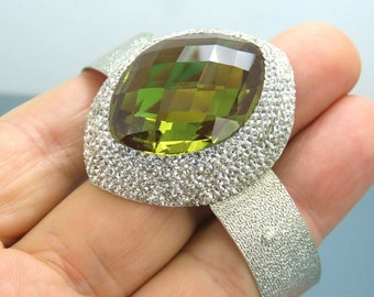 Alex Quartz Silver Bangle Gold Plated Bangle Sterling 925 Silver 13x13mm Diamond Shape Gemstone Handmade Jewelry Gift For Her