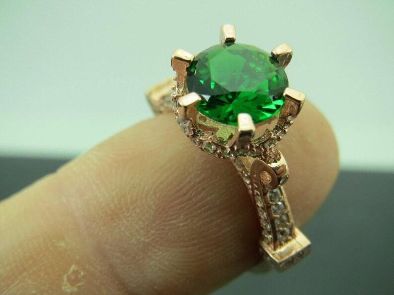 Turkish Handmade Jewelry 925 Sterling Silver Emerald Stone Ladies/' Ring Sz 8