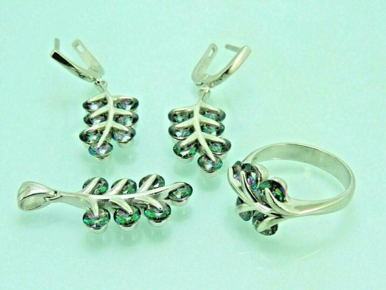 Turkish Handmade Jewelry 925 Sterling Silver Rainbow Stone Women Earring Set