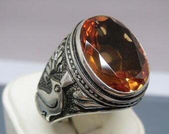 Turkish Handmade Jewelry 925 Sterling Silver Alexandrite Stone Men's Ring