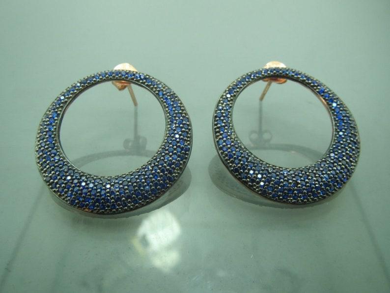 Turkish Handmade Jewelry 925 Sterling Silver Sapphire Stone Ladies/' Earrings